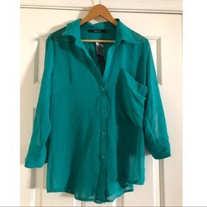 Nasty Gal Teal Button-Up Blouse - Brand New (NWT)